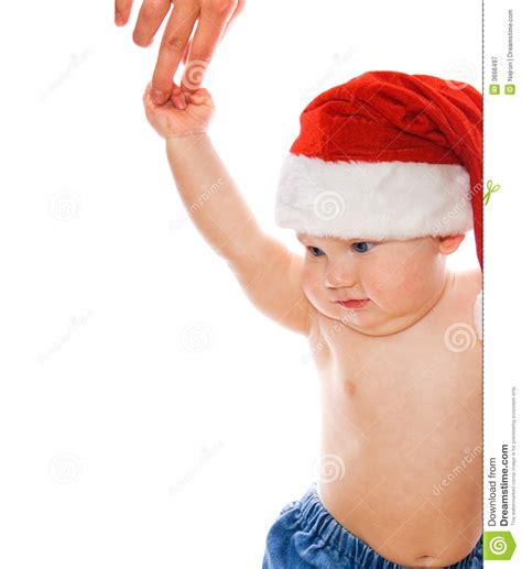 toddler in christmas hat royalty free stock photography