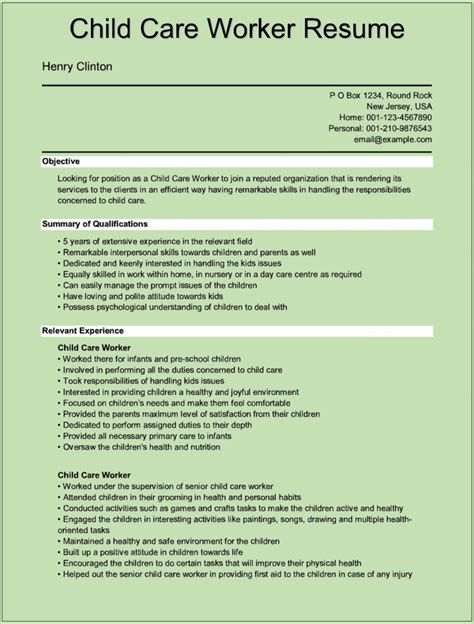 Daycare Resume Exles by Sle Child Care Worker Resumes For Microsoft Word Doc