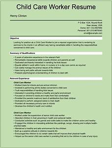 Sample child care worker resumes for microsoft word doc for Childcare resume template