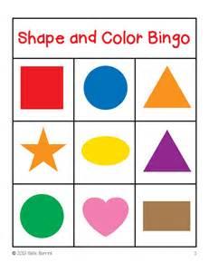 Color Shape Bingo Cards