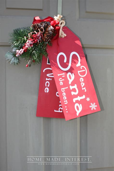 naughty nice wooden door tags pictures   images