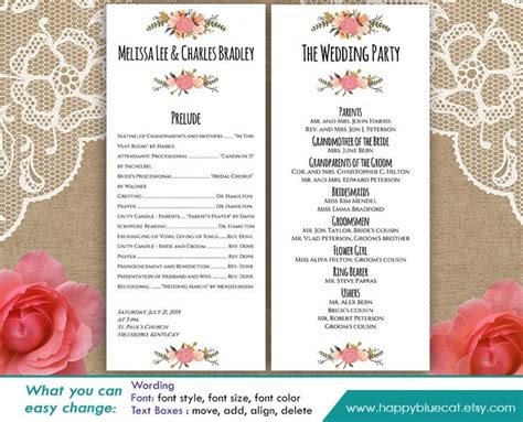 diy printable program wedding template instant