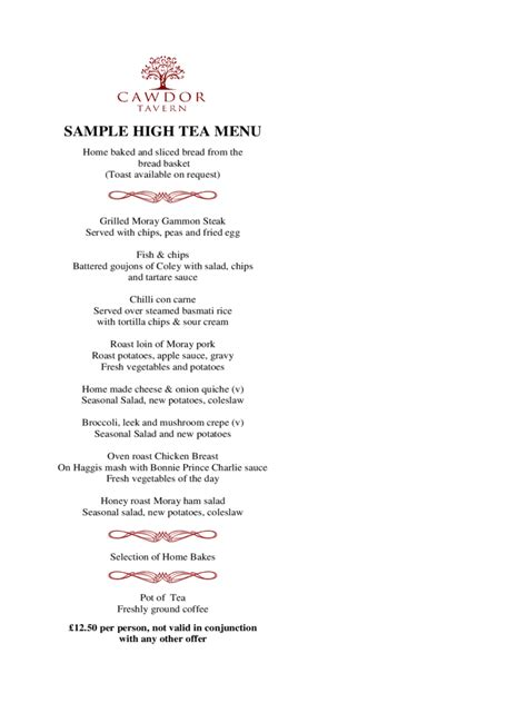 high tea menu template   templates   word