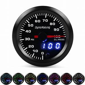 5x Dyno Racing 2 Inch 52mm Digital Pointer 7 Color Led 0