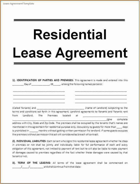 Rental Agreement Template 6 Rental Agreement Template Printable Receipt