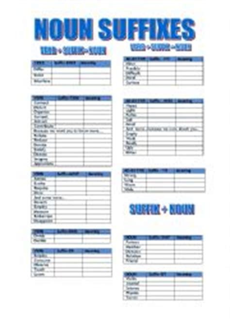 teaching worksheets suffixes
