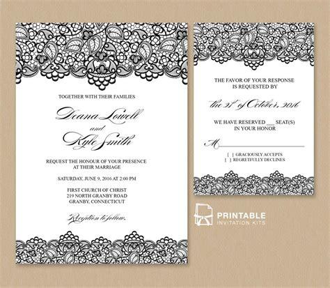 Beautiful black lace wedding invitation and rsvp Free