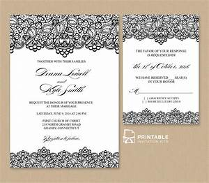 free pdf wedding invitation template black lace vintage With edit photo wedding invitations