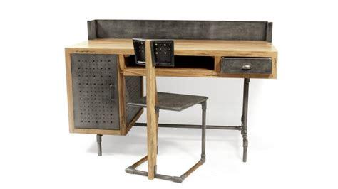bureau metal et bois bureau belfast de style industriel en bois et métal