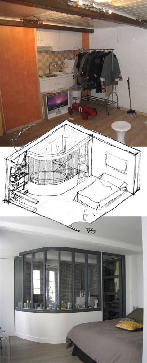 chambre ouverte sur salle de bain une salle de bains ouverte sur la chambre studio d