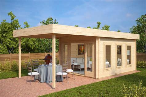 Modern Garden Summer House With Canopy Jacob E 12m² 44mm