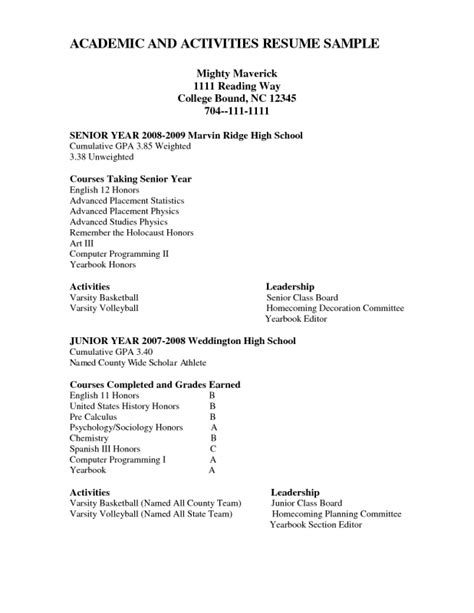 high school senior resume best resume collection