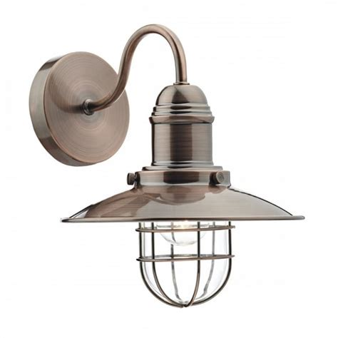 vintage coastal design fisherman wall light in copper with