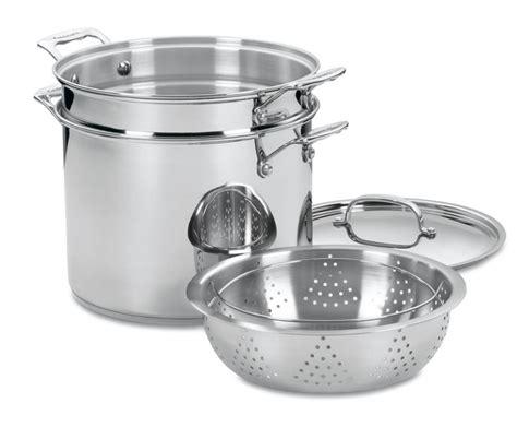 cuisinart chefs classic stainless steel pasta steamer stock pot set  quart cutlery
