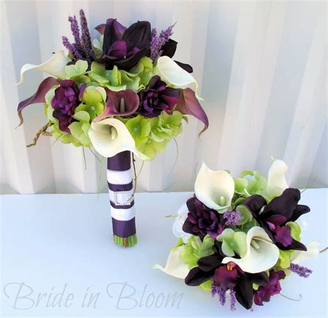 plum wedding bouquets plum wedding bouquet  piece set