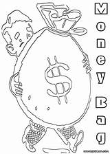 Money Coloring Pages Bag Colorings sketch template
