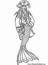 Pirate Coloring Merman Pages Adult Colouring Mermaids Mermaid Printable Template Books Halloween Sheets Baleen Cavallo Crafts Icolor Pheemcfaddell sketch template