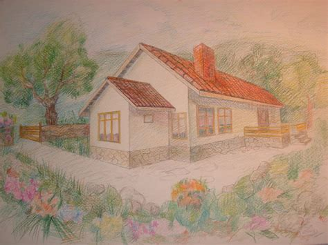 House With Garden Drawing