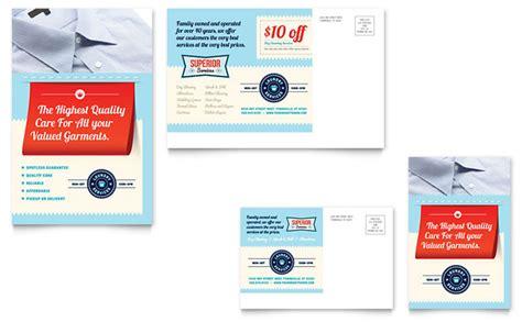 laundry services postcard template design