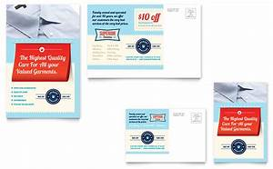 laundry flyers templates - laundry services postcard template design