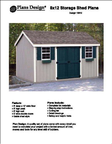 Garden Shed Plans 8x12 by 8 X 12 Gable Storage Shed Project Plans Design 10812 Ebay