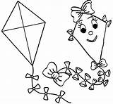 Coloring Kites Simple Boys Kite Pages Happy Children sketch template
