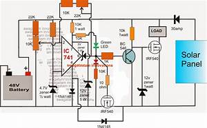 48v Solar Battery Charger Circuit With High  Low Cut