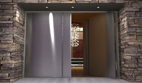 contemporary stainless steel entry doors pair  modern