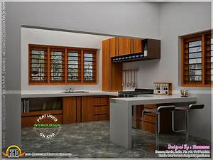 modern house elevation with interior renderings kerala With kerala style kitchen interior designs
