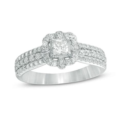 1 ct t w princess cut frame multi row vintage style engagement ring in 14k white gold