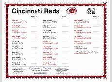 Printable 2018 Cincinnati Reds Schedule