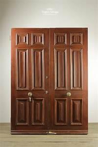 salvaged pair of six panel oak doors