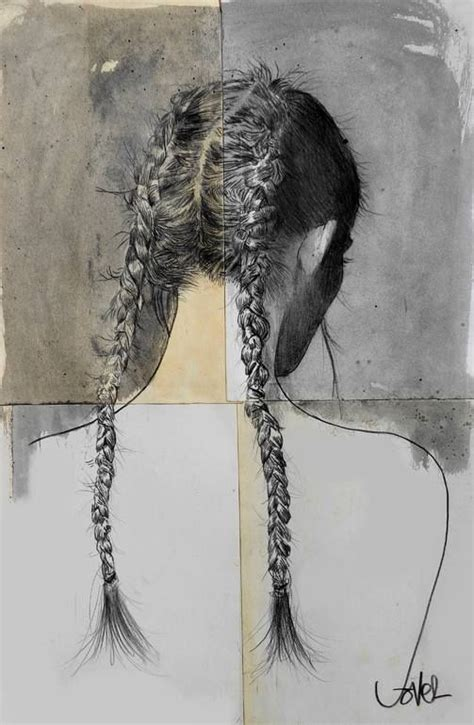 freya drawing  loui jover double braid mixed media