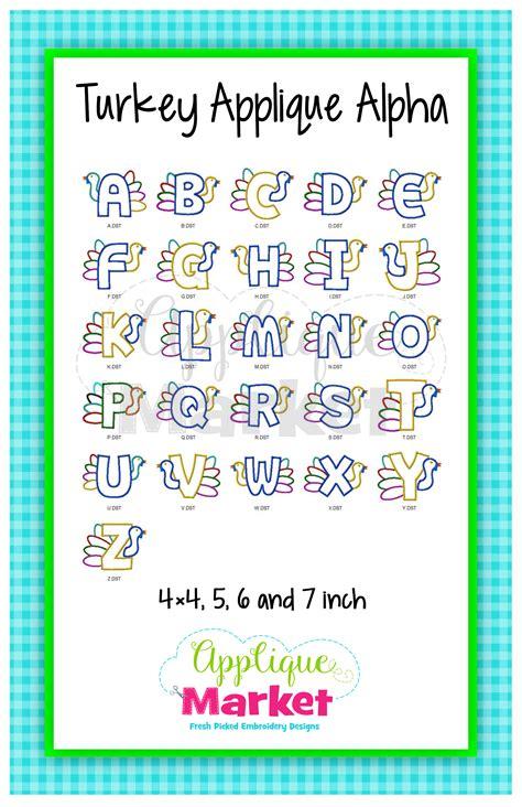 turkey applique alphabet