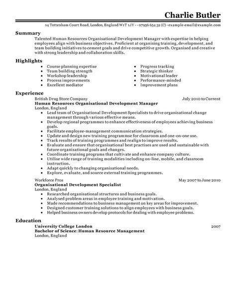 Development Skills Resume by Organizational Development Resume Exles Human Resources Resume Sles Livecareer