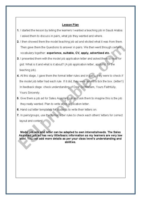 writing  formal job application letter complete lesson
