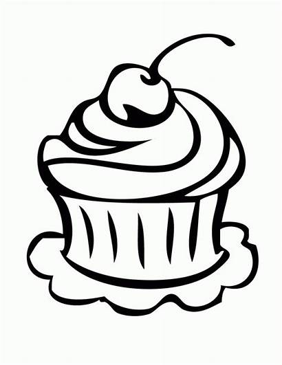 Cupcake Outline Birthday Drawing Coloring Clipart Cake