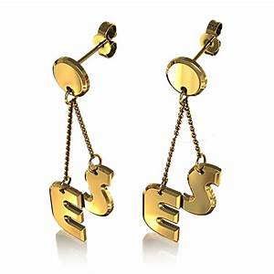 new fashion gold color custom initial letter name drop With custom letter earrings