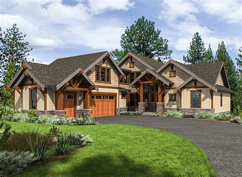 Home Design : Mountain Craftsman House Plan With 3 Upstairs Bedrooms