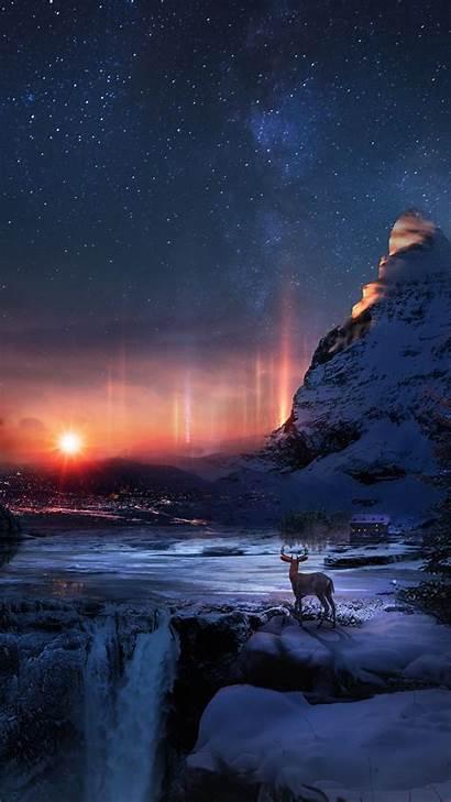 Winter Night Snow Deer Background Galaxy Samsung
