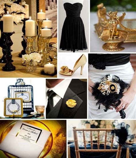 black and gold wedding theme ideas from favors to