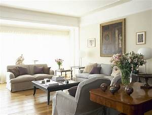 Beige-Gray Traditional Family Room - Living Room Design