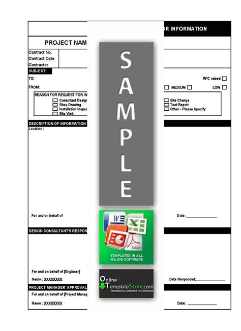 request  information rfi template  excel
