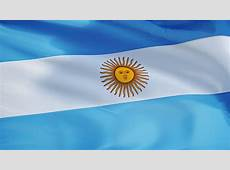 Closeup Of Argentina's Flag With The Sun Behind fabric