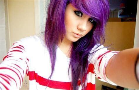 Emo Girl Hair Piercing Purple Image 183609 On