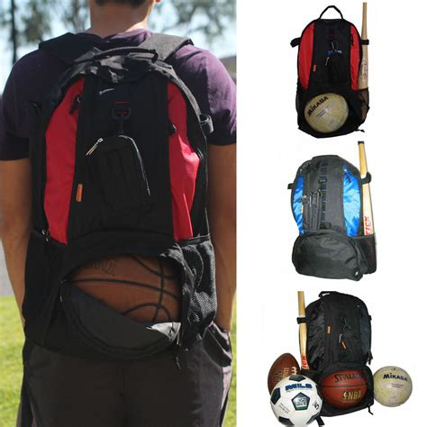 sport backpack red blue black fit basketball football