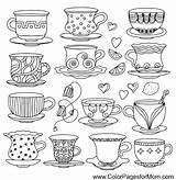 Coloring Coffee Pages Adult Wine Adults Tea Cups sketch template