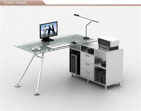 sell office furniture glass computer desk with cabinet