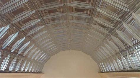 pressed plate tin metal ceiling installation   barrel