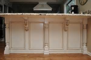 kitchen islands with posts combining two unlikely designs reeded island posts and acanthus leaf corbels osborne wood